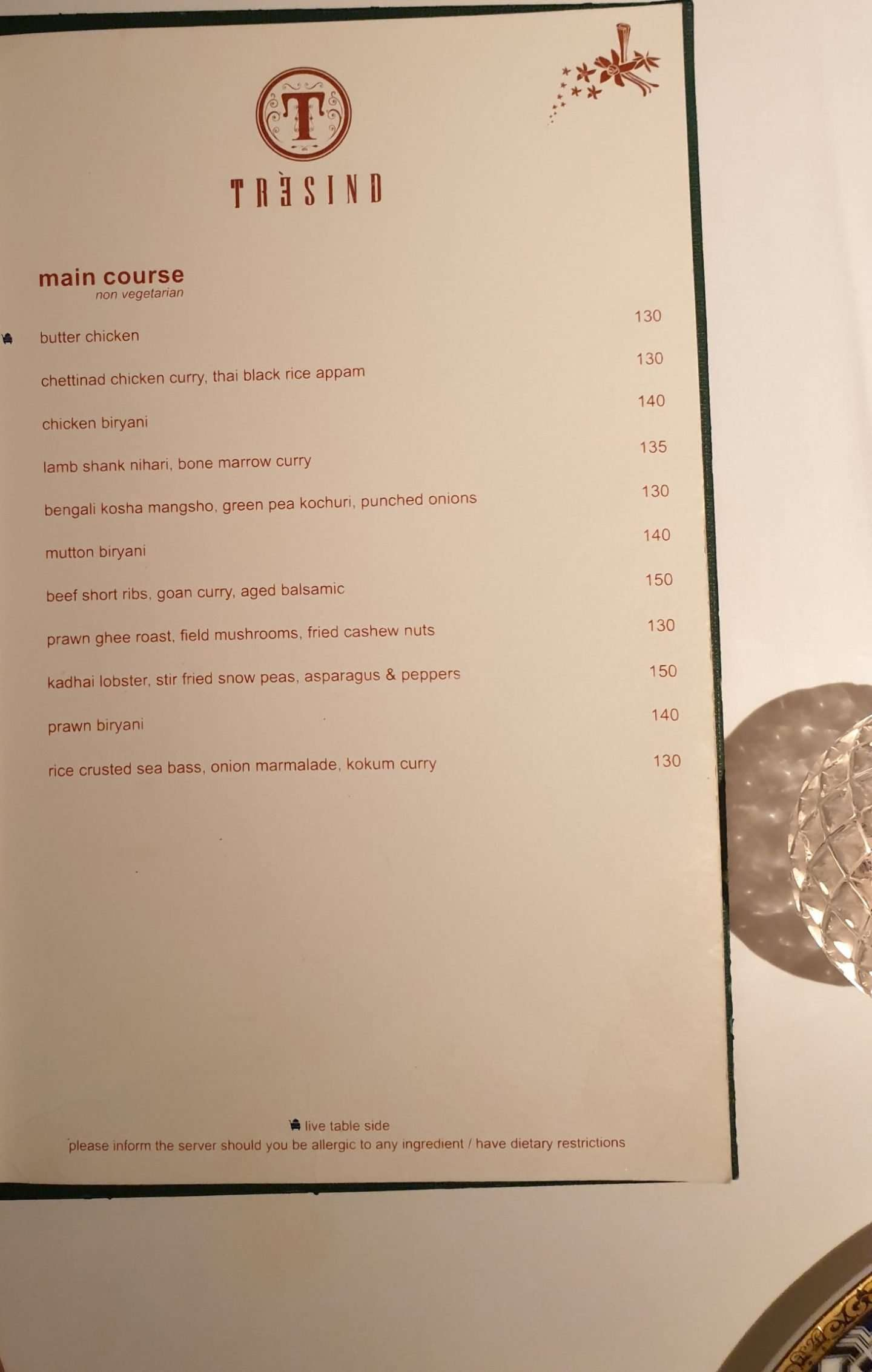 Tresind Main Course Menu