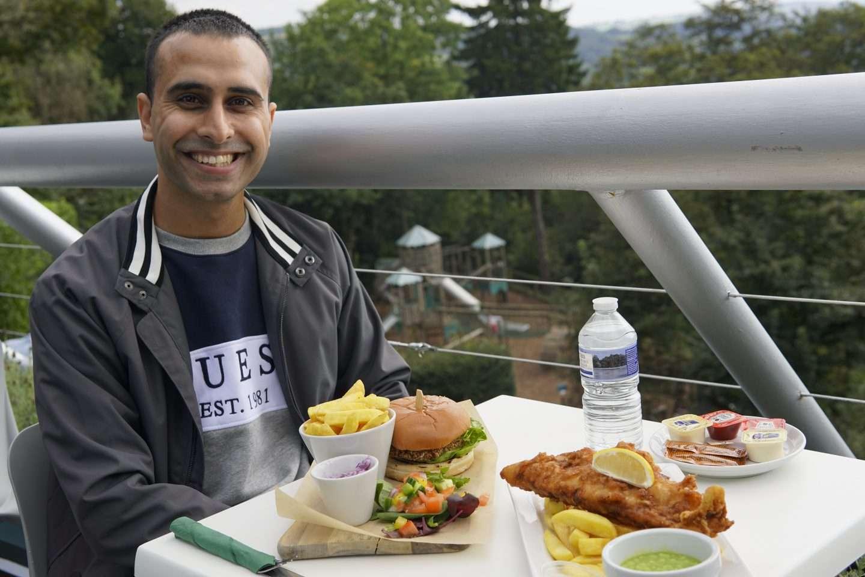 Adil Musa enjoying food at Peak District